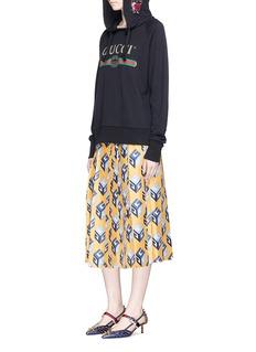 Gucci'GG Wallpaper' print pleated silk twill skirt