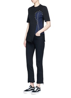 Jinnnn Beaded denim insert T-shirt