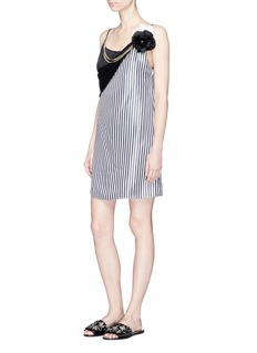 Lanvin Rosette chain necklace stripe satin slip dress