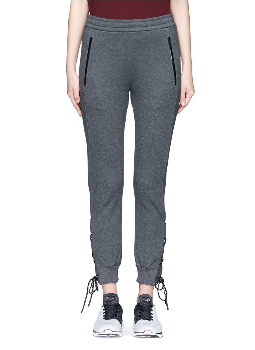 Reflective lace-up drawstring cotton pants by Particle Fever
