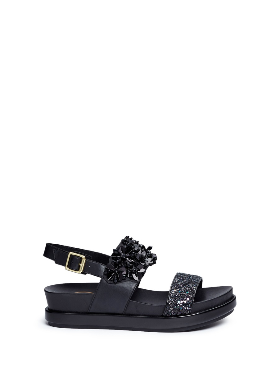 Sharon floral sequin and glitter leather sandals by Ash