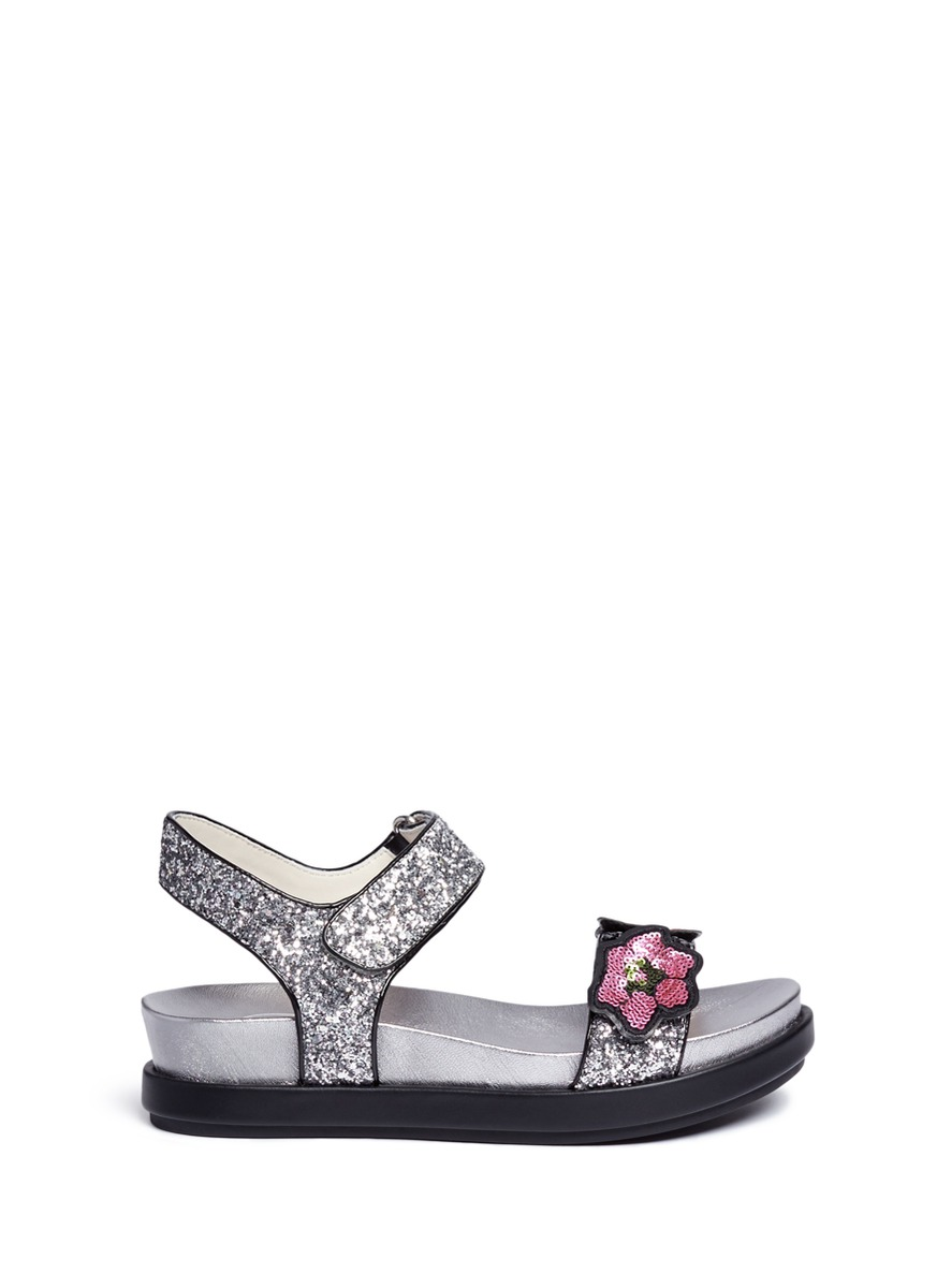 Shine floral sequin appliqué metallic sandals by Ash