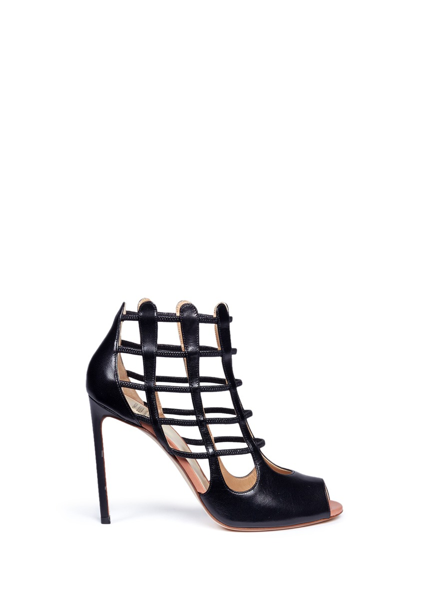 Nadia cutout heel leather sandal booties by Francesco Russo