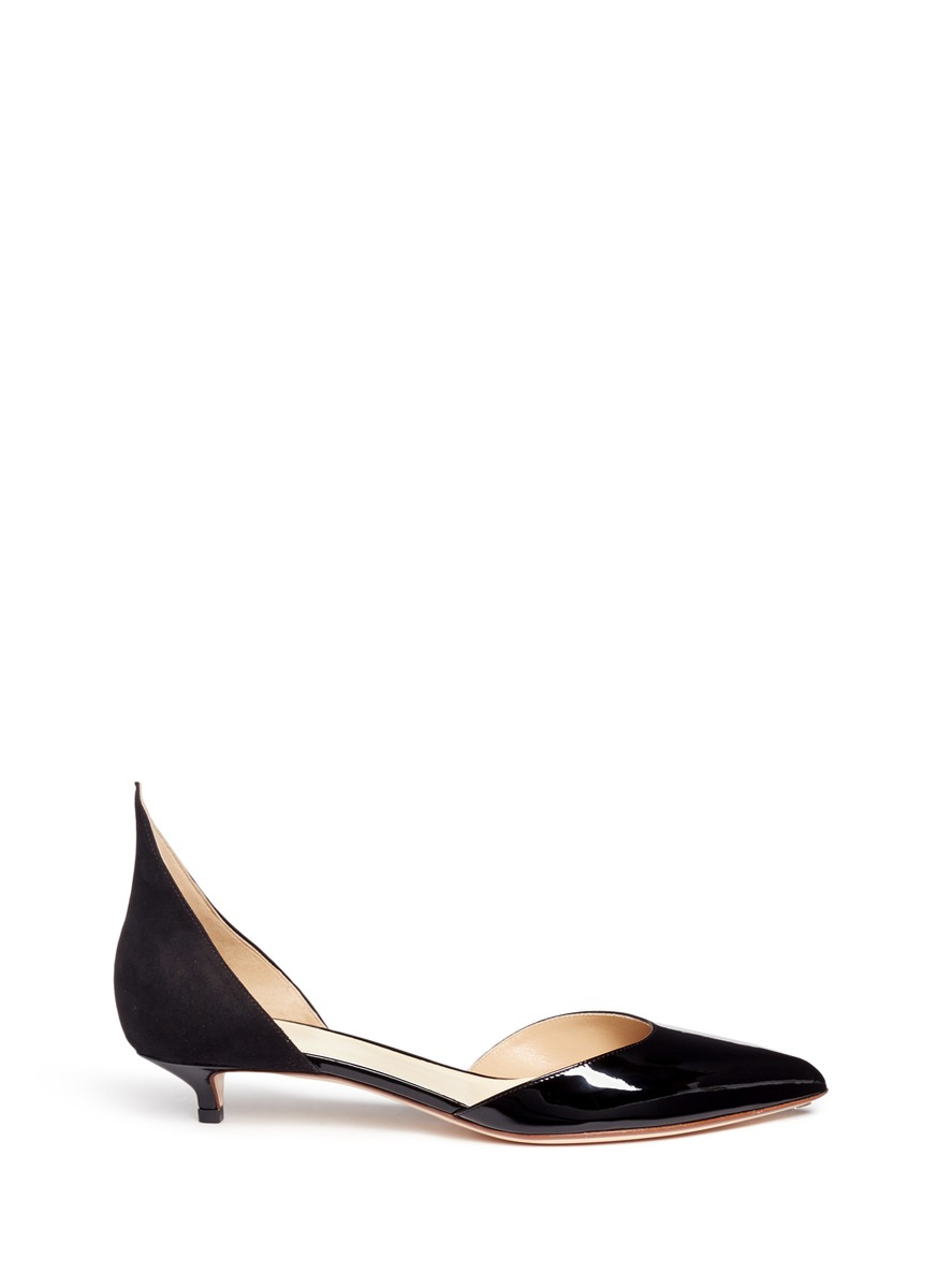 Peaked suede counter patent leather dOrsay pumps by Francesco Russo