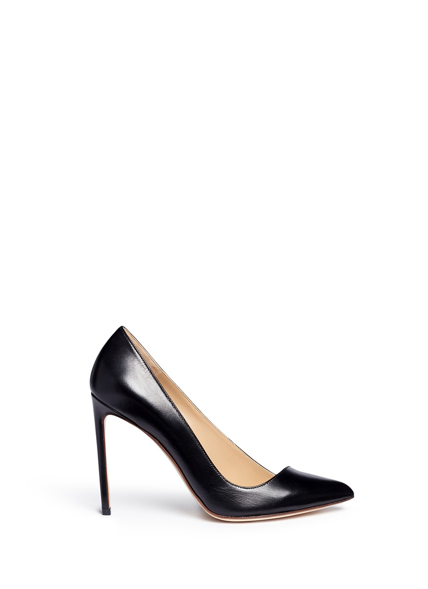 Mirabelle slanted vamp kid leather pumps by Francesco Russo