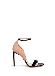 Francesco Russo Suede panel patent leather sandals