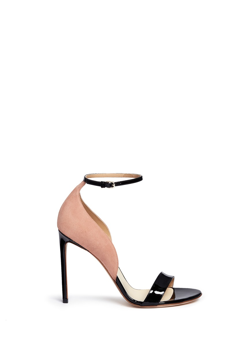 Suede panel patent leather sandals by Francesco Russo