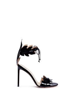 FRANCESCO RUSSO叶子造型漆皮高跟凉鞋