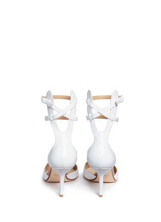 Back View - Click To Enlarge - Francesco Russo - Double ankle strap kid leather pumps