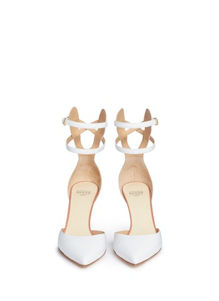 Front View - Click To Enlarge - Francesco Russo - Double ankle strap kid leather pumps