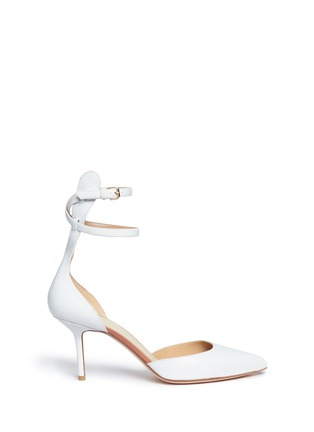 Main View - Click To Enlarge - Francesco Russo - Double ankle strap kid leather pumps