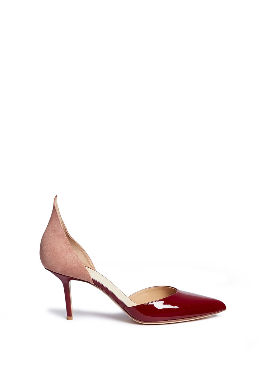Suede and patent leather dOrsay pumps by Francesco Russo