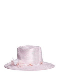 Gigi Burris Millinery 'Meredith' feather trim stripe straw hat