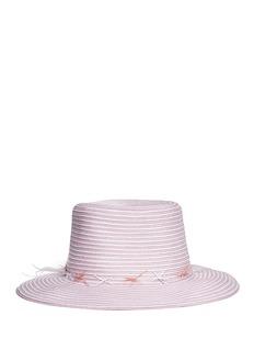 Gigi Burris Millinery'Meredith' feather trim stripe straw hat