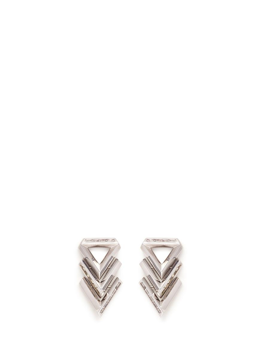 Twill Chevron cubic zirconia drop earrings by Eddie Borgo