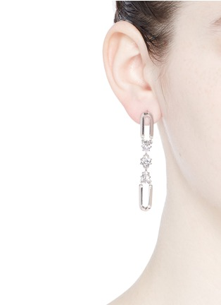 Figure View - Click To Enlarge - Eddie Borgo - 'Estate Pop' padlock hoop glass crystal drop earrings