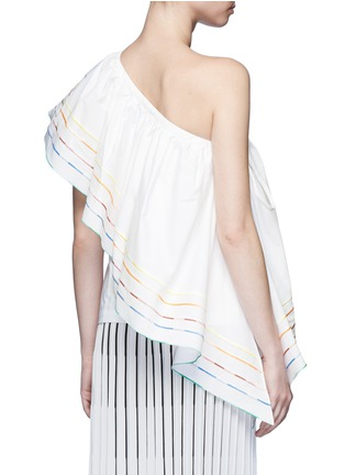 Back View - Click To Enlarge - Rosie Assoulin - 'Wedge' rainbow ruffle poplin one-shoulder top