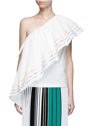 Main View - Click To Enlarge - Rosie Assoulin - 'Wedge' rainbow ruffle poplin one-shoulder top