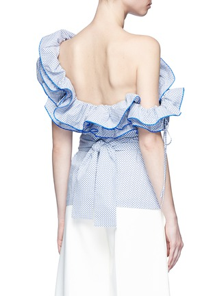 Back View - Click To Enlarge - Rosie Assoulin - 'Bearded Iris' diamond print ruffle one-shoulder top