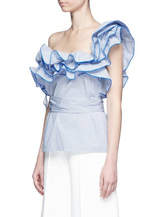 Front View - Click To Enlarge - Rosie Assoulin - 'Bearded Iris' diamond print ruffle one-shoulder top