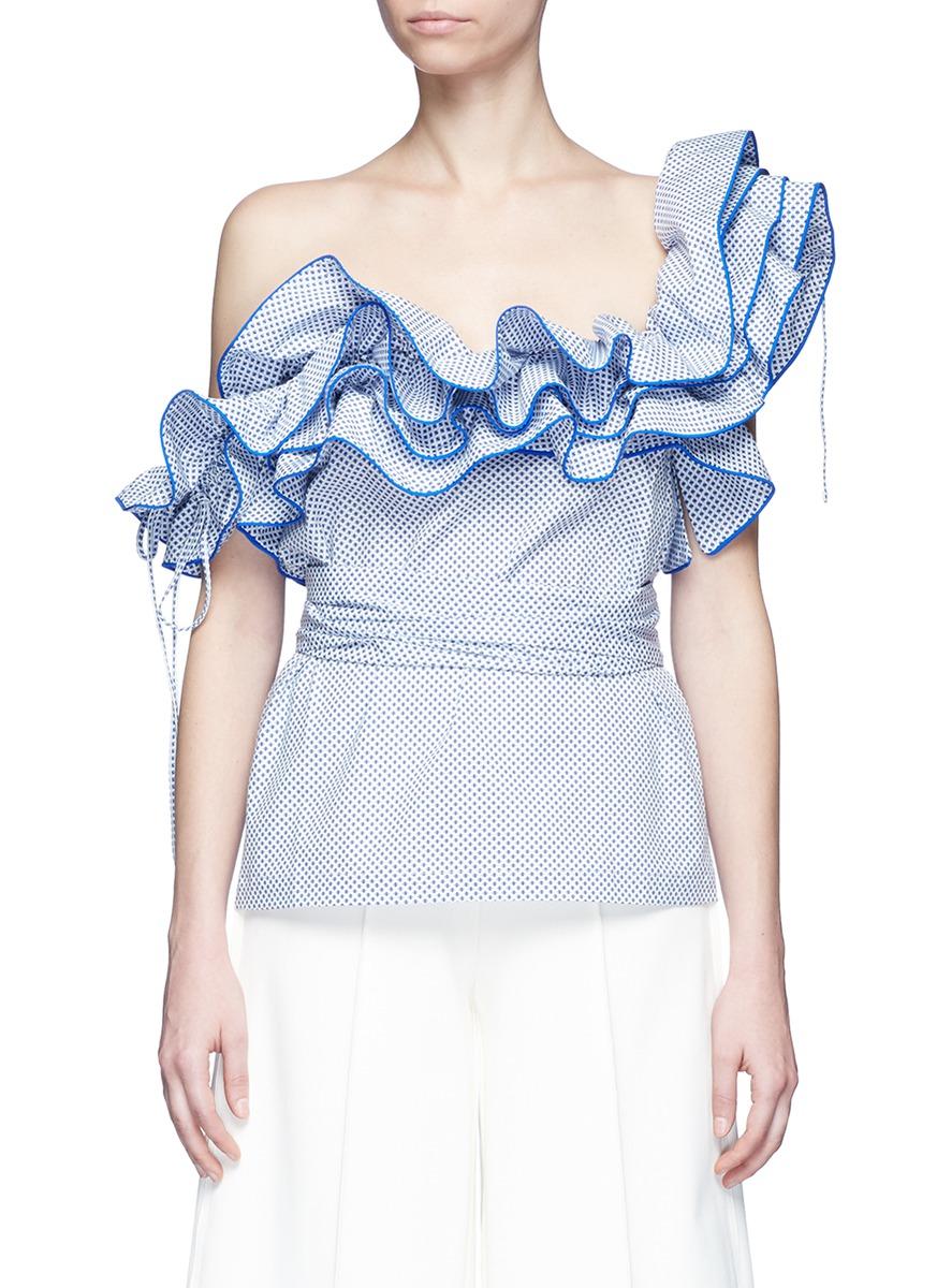 Bearded Iris diamond print ruffle one-shoulder top by Rosie Assoulin