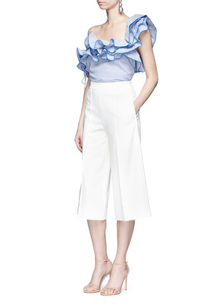 Figure View - Click To Enlarge - Rosie Assoulin - 'Bearded Iris' diamond print ruffle one-shoulder top
