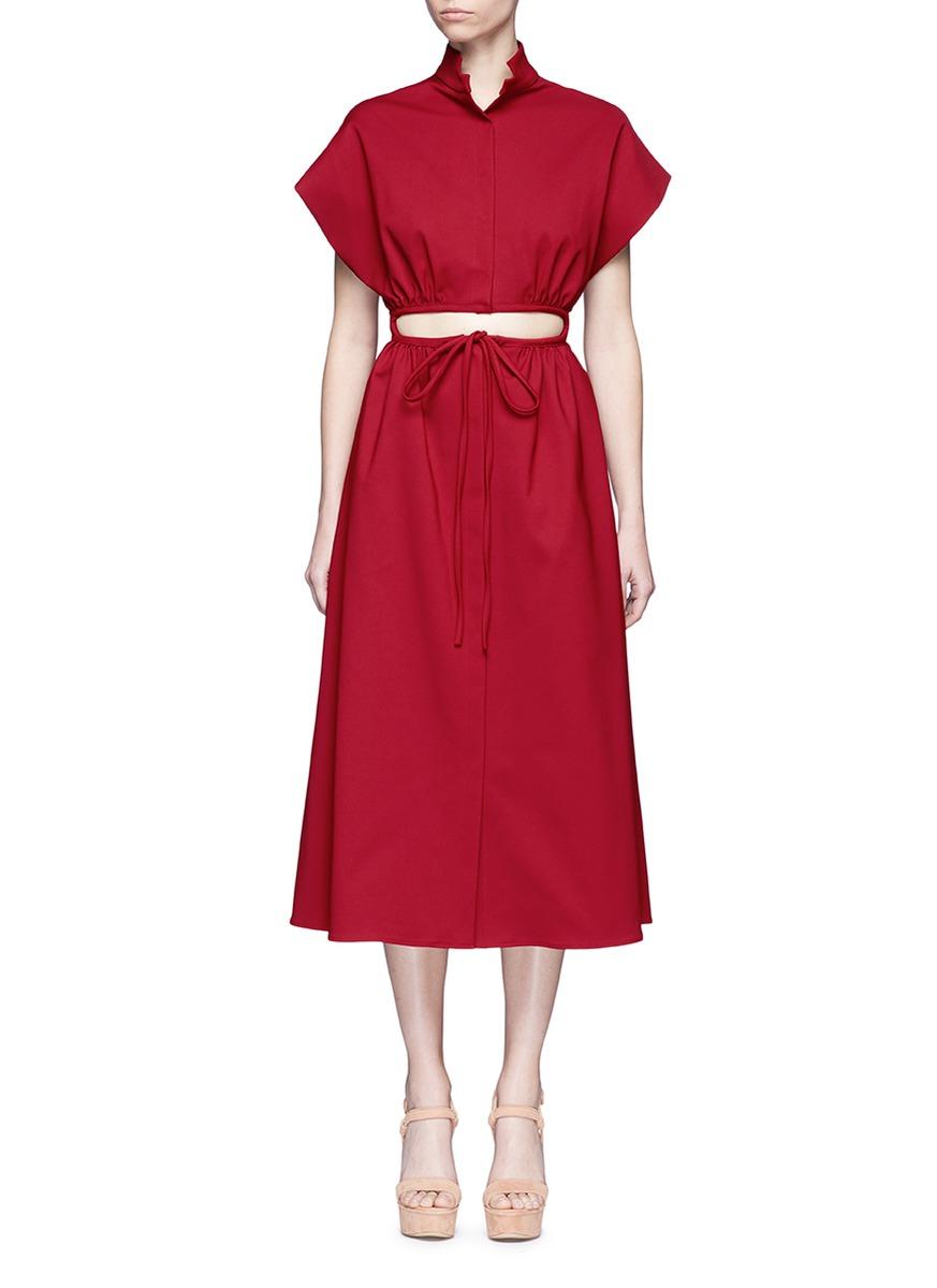 Cutout drawstring waist dress by Rosie Assoulin