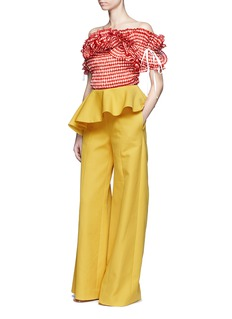 Rosie Assoulin 'Bearded Iris' ruffle gingham check one-shoulder top