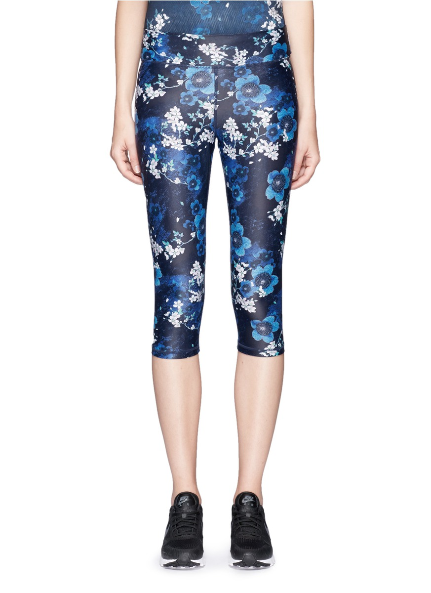 Power cherry blossom print performance leggings by The Upside