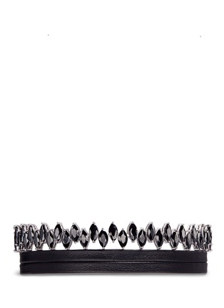 Main View - Click To Enlarge - Fallon - 'Monarch Jagged Edge' cubic zirconia leather choker necklace