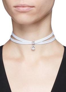 Fallon'Monarch Le Petit' cubic zirconia wraparound leather necklace