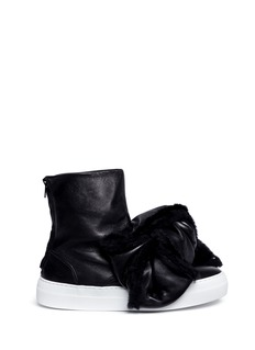 Joshua SandersShearling Bow Bomb leather sneaker boots
