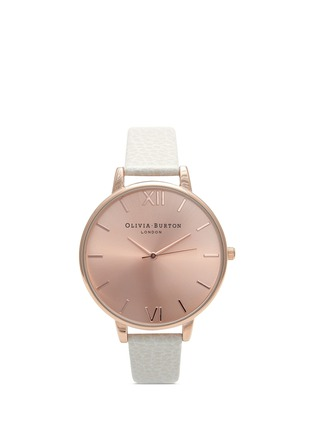 Main View - Click To Enlarge - Olivia Burton  - 'Big Dial' leather strap watch
