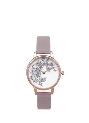 Main View - Click To Enlarge - Olivia Burton  - 'Animal Motif Butterflies' leather strap watch