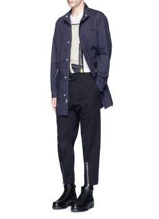 3.1 Phillip LimPinstripe drawstring cotton shirt jacket