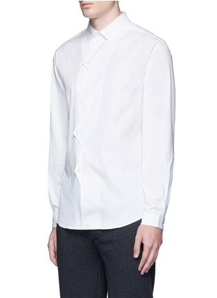 Front View - Click To Enlarge - Christopher Kane - Zigzag front placket cotton shirt