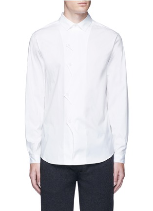 Main View - Click To Enlarge - Christopher Kane - Zigzag front placket cotton shirt