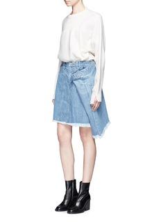 FACETASMExtended panel frayed denim skirt