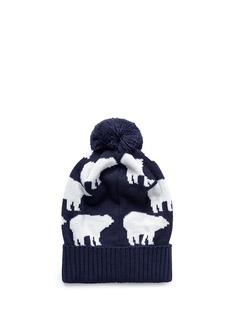 Perfect Moment'Multi Bear' intarsia Merino wool blend pompom beanie