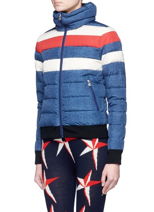 Front View - Click To Enlarge - Perfect Moment - 'Queenie' denim print quilted down ski jacket