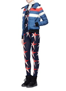 Perfect Moment 'Queenie' denim print quilted down ski jacket