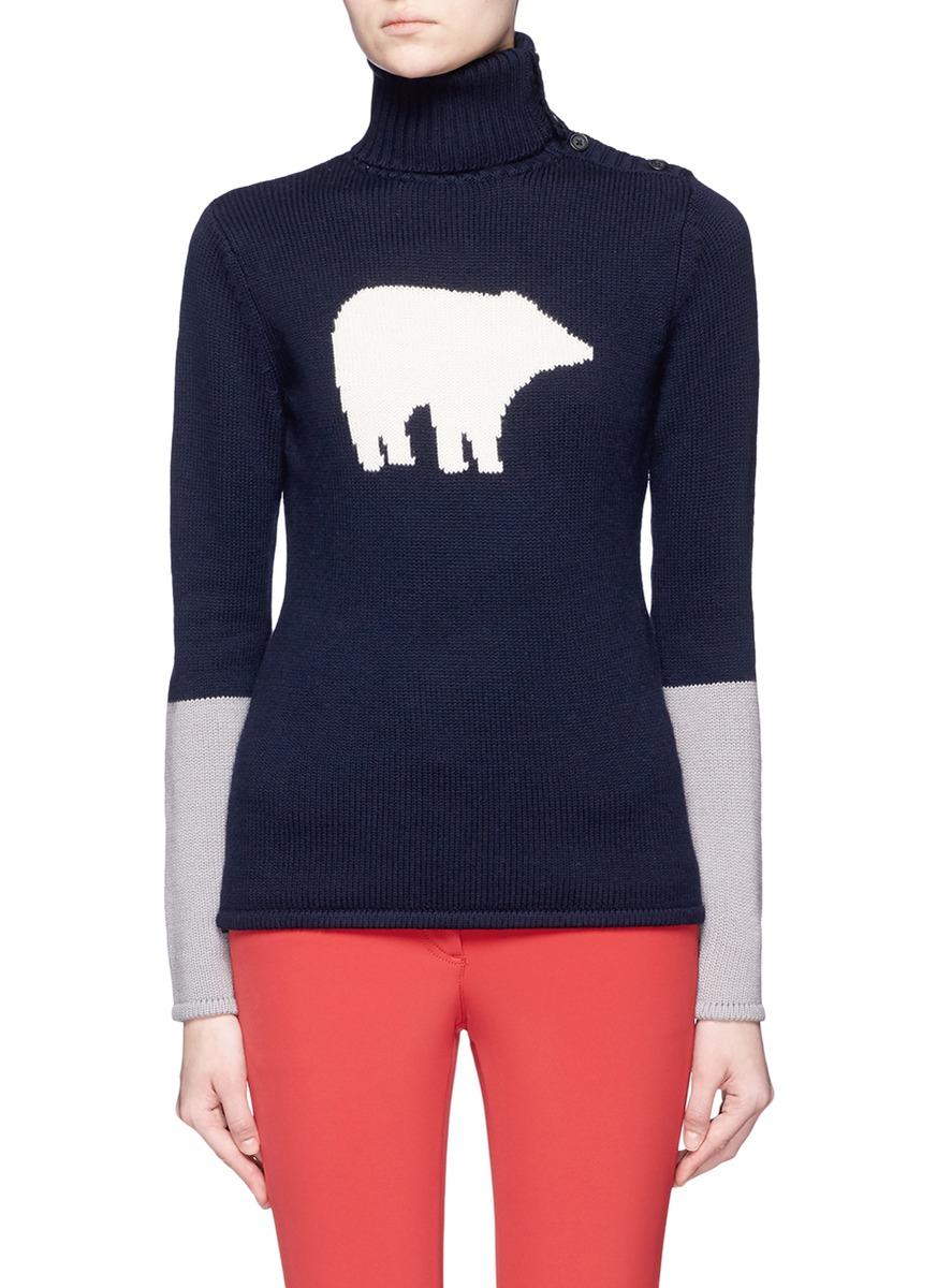 Polar bear intarsia Merino wool sweater by Perfect Moment
