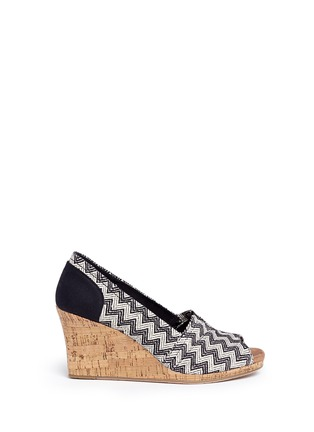 Main View - Click To Enlarge -  - 'Classic' chevron cork wedge sandals