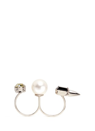 Figure View - Click To Enlarge - Joomi Lim - Faux pearl crystal two finger ring