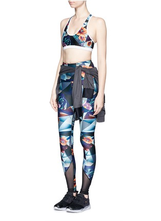 Figure View - Click To Enlarge - We Are Handsome - 'The Score' print mesh trim active leggings