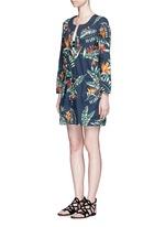 'The Bazaar' tropical cotton drawstring tunic dress