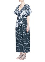 'The Hybrid' tie waist floral cotton maxi kaftan
