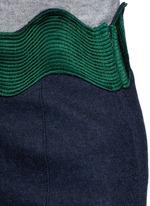 Embroidered wavy trim wool mini skirt
