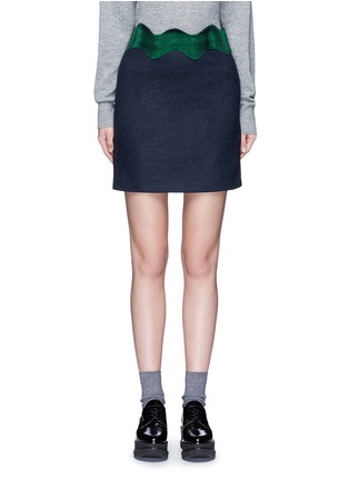 Main View - Click To Enlarge - TOGA ARCHIVES - Embroidered wavy trim wool mini skirt