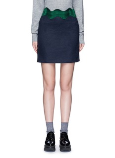 TOGA ARCHIVES Embroidered wavy trim wool mini skirt